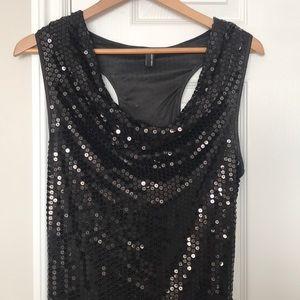 Brightly Wrest Short Dress - Black Sequin